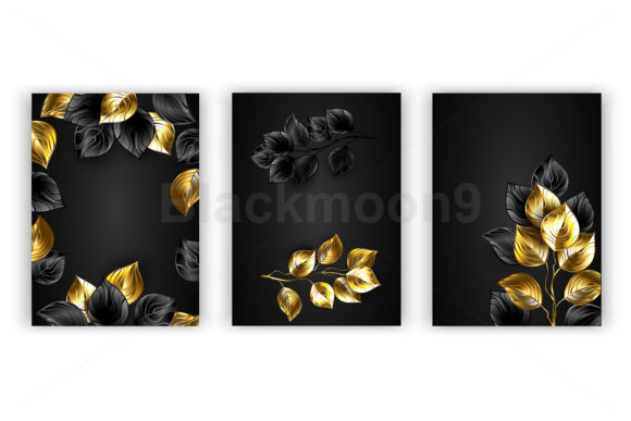 Design with Black and Gold Branches Graphic Illustrations By Blackmoon9