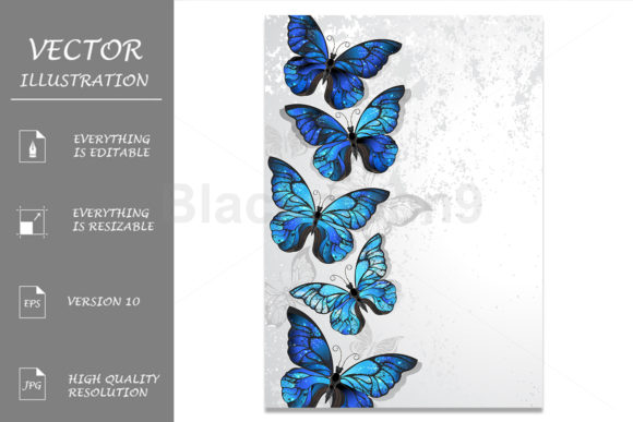 Design with Blue Butterflies Morph Graphic Illustrations By Blackmoon9