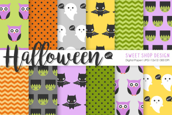 Digital Paper Cute Halloween Graphic Patterns By Sweet Shop Design