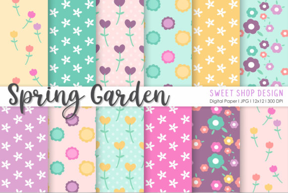 Download Free Digital Paper Spring Garden Graphic By Sweet Shop Design for Cricut Explore, Silhouette and other cutting machines.