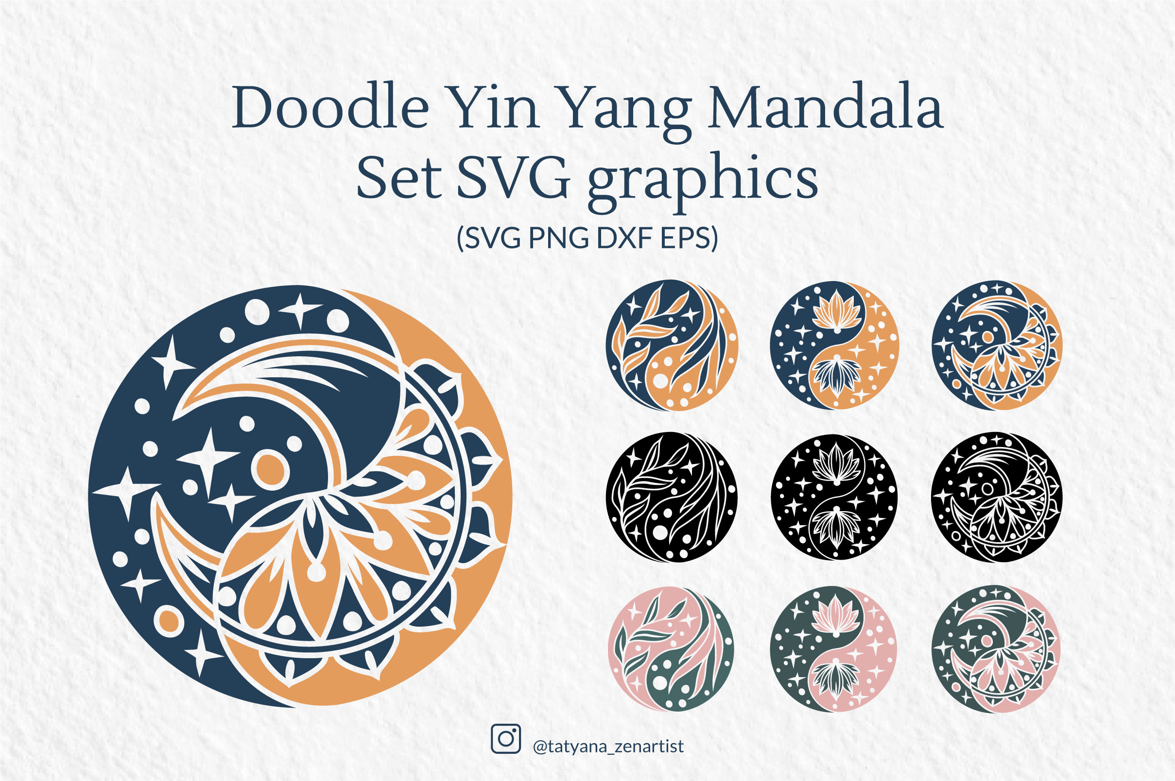 Download Free Doodle Yin Yang Mandala Set Graphic By Tatyana Zenartist for Cricut Explore, Silhouette and other cutting machines.