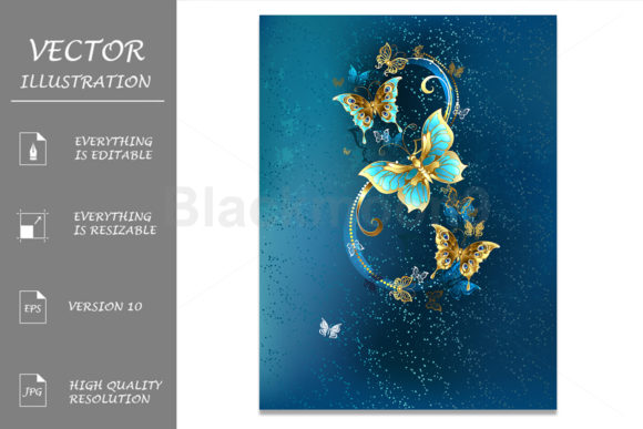 Eight of Luxury Butterflies Graphic Illustrations By Blackmoon9