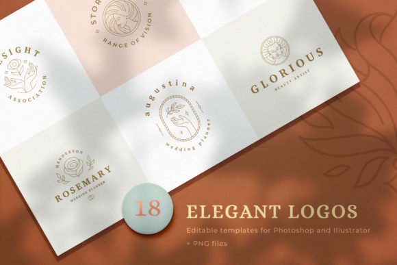 Download Free Elegant Line Logos Bundle Graphic By Vasyako1984 Creative Fabrica for Cricut Explore, Silhouette and other cutting machines.