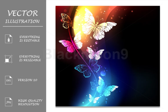 Fabulous Night Butterflies Graphic Illustrations By Blackmoon9