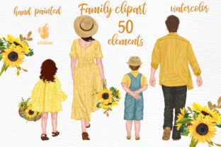 Print on Demand: Family Clipart Parents with Kids Watercolor Graphic Illustrations By LeCoqDesign