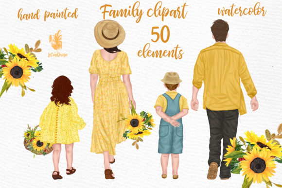 Family Clipart Parents with Kids Watercolor Graphic Illustrations By LeCoqDesign