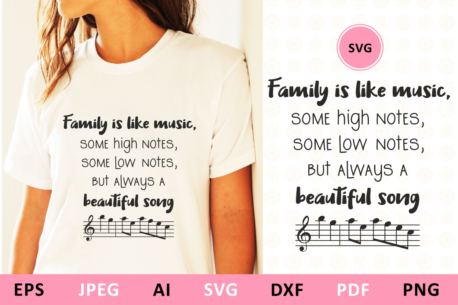 Download Free Family Is Like Music Family Quote Graphic By Millerzoa for Cricut Explore, Silhouette and other cutting machines.