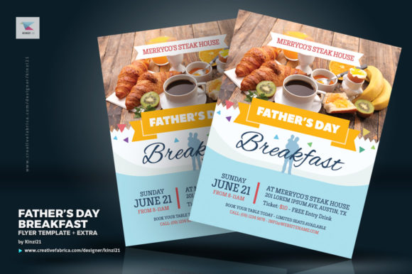 Download Free Father S Day Breakfast Flyer Template Graphic By Kinzi21 for Cricut Explore, Silhouette and other cutting machines.