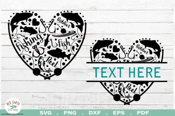 Download Free Fish Heart Frame Graphic By Redearth And Gumtrees Creative Fabrica for Cricut Explore, Silhouette and other cutting machines.