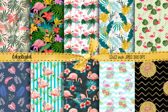 Print on Demand: Flamingos Printable Papers Digital Scrap Graphic Crafts By CatgoDigital