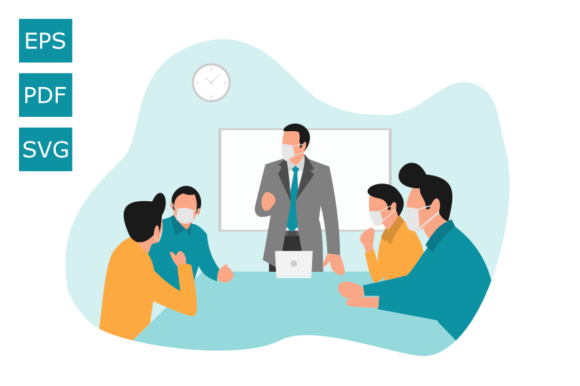 Download Free Flat Illustration Meeting Using A Mask Graphic By Rohmatsidiq9 for Cricut Explore, Silhouette and other cutting machines.