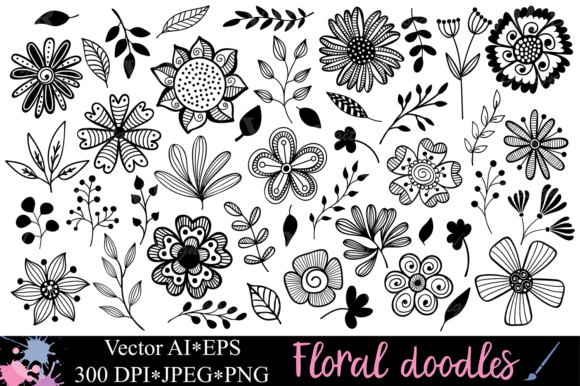 Floral Doodles / Botanical Clipart Graphic Illustrations By VR Digital Design