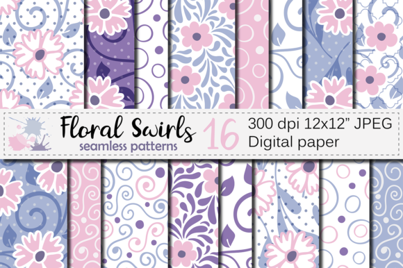 Download Free Floral Swirls Seamless Digital Paper Graphic By Vr Digital for Cricut Explore, Silhouette and other cutting machines.