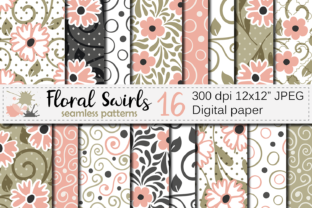 Floral Swirls Seamless Digital Paper Graphic Patterns By VR Digital Design