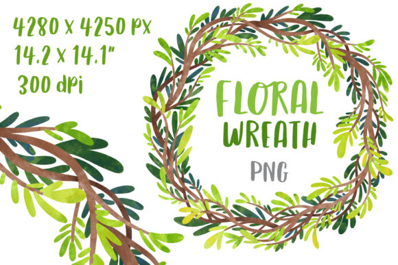 Floral Wreath Greenery Clipart Graphic Illustrations By GreenWolf Art