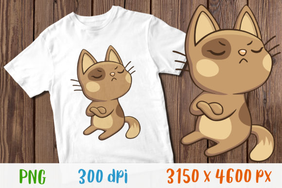 Funny Cat T-Shirt for Child Design Graphic Print Templates By GreenWolf Art