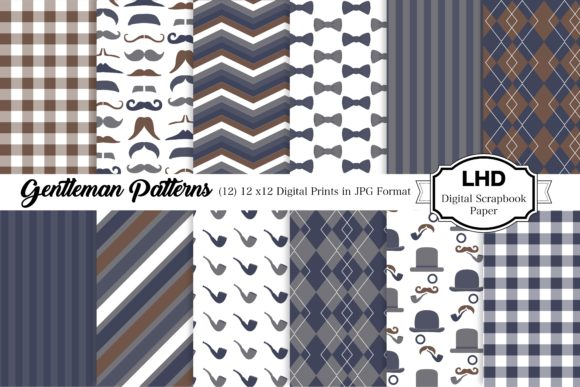 Download Free Gentleman Digital Paper Patterns Graphic By Leskahamatydesign for Cricut Explore, Silhouette and other cutting machines.