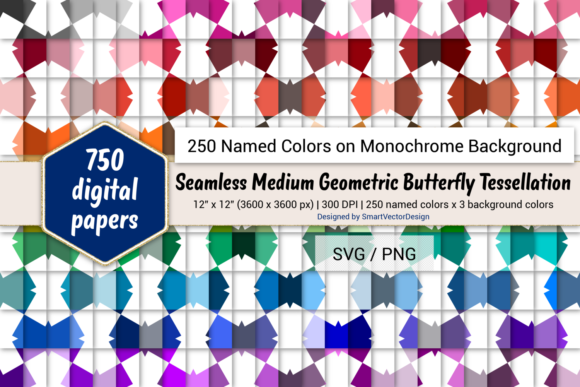 Geom Butterfly Digital Paper 250 Colors Graphic By