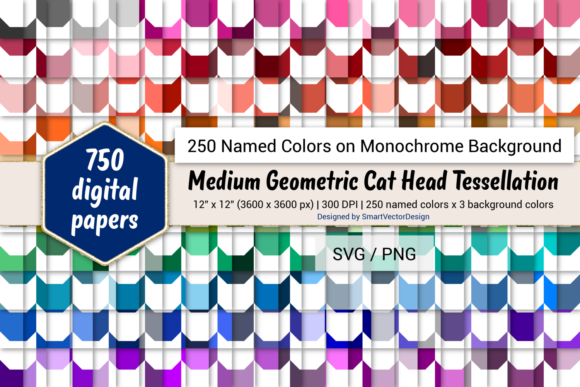 Print on Demand: Geom Cat Head Digital Paper - 250 Colors Graphic Backgrounds By SmartVectorDesign