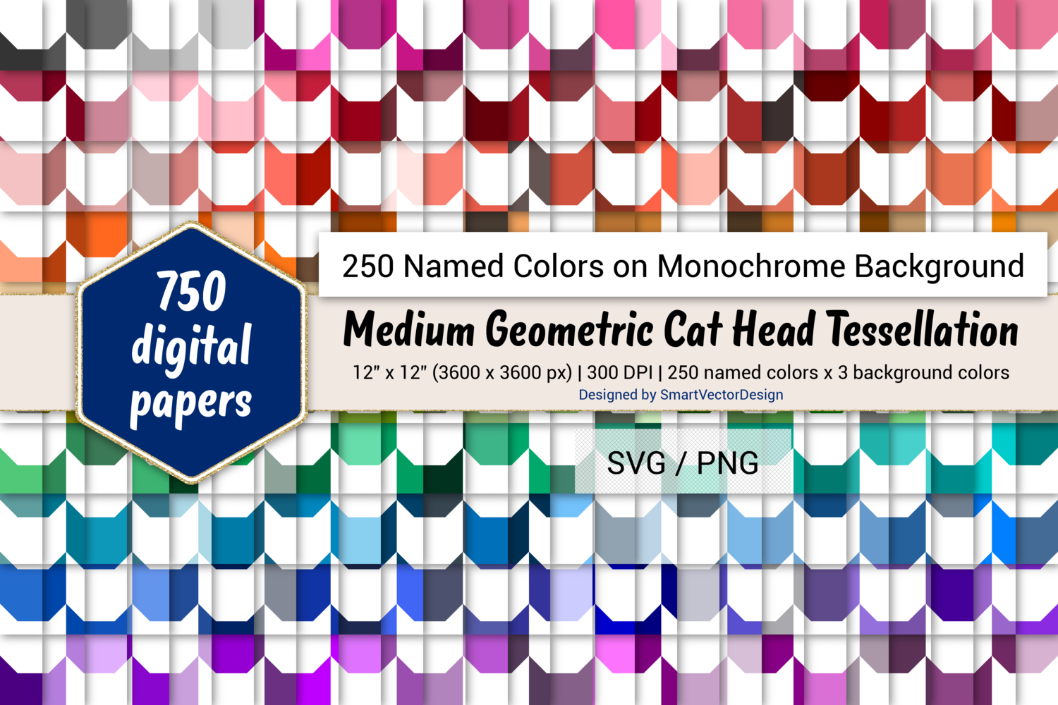 Download Free Geom Cat Head Digital Paper 250 Colors Graphic By for Cricut Explore, Silhouette and other cutting machines.
