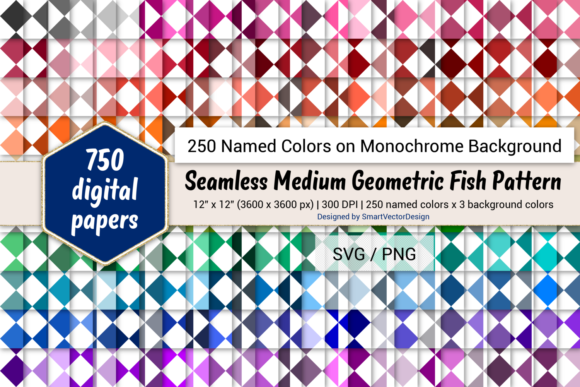 Download Free Geom Fish Digital Paper 250 Colors Graphic By for Cricut Explore, Silhouette and other cutting machines.