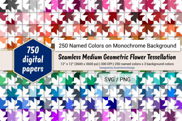 Geom Fish Digital Paper 250 Colors Graphic By