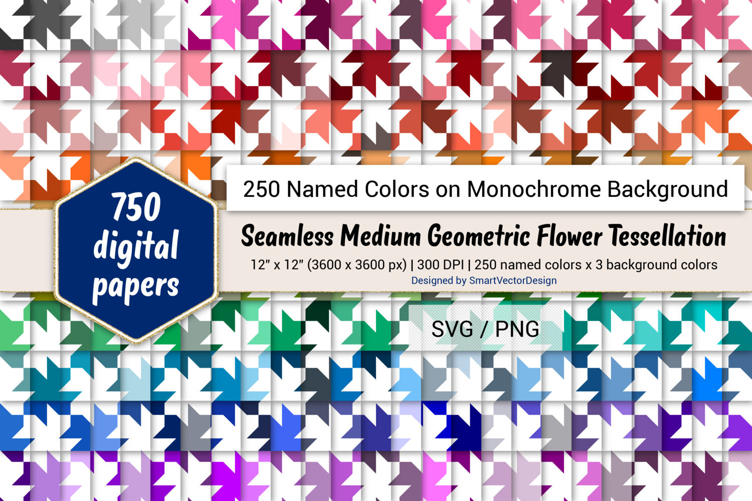 Download Free Geom Flower Digital Paper 250 Colors Graphic By for Cricut Explore, Silhouette and other cutting machines.