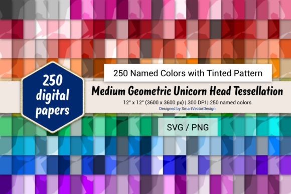 Download Free Geom Unicorn Digital Paper 250 Colors Graphic By for Cricut Explore, Silhouette and other cutting machines.