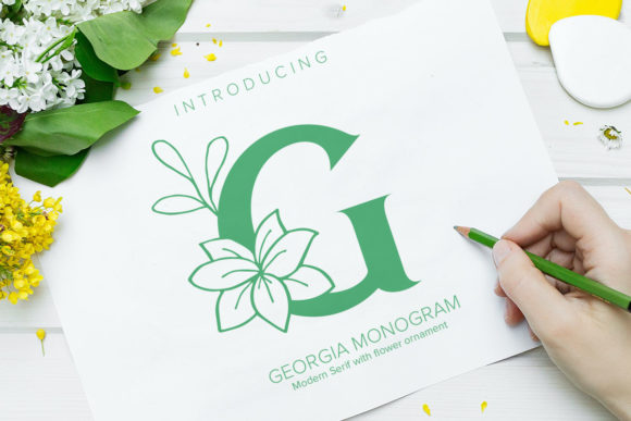 Print on Demand: Georgia Monogram Dekorativ Schriftarten von Monogram Lovers