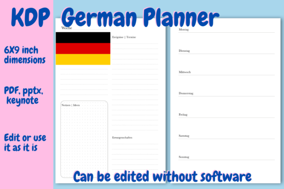 Print on Demand: German Undated Planner for KDP Graphic KDP Interiors By Income Plum