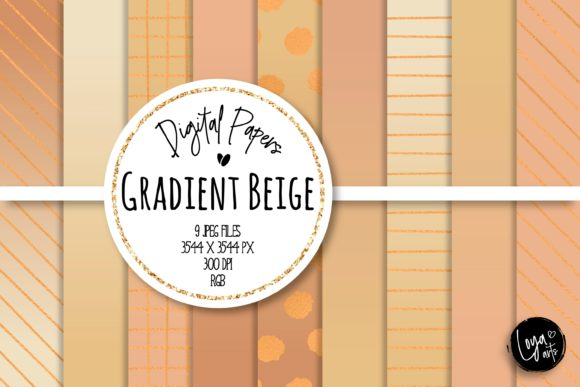 Print on Demand: Gradient Beige Digital Paper Set Graphic Backgrounds By loyaarts