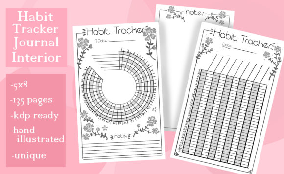 Print on Demand: Habit Tracker Journal Interior Graphic KDP Interiors By madelinehaleart