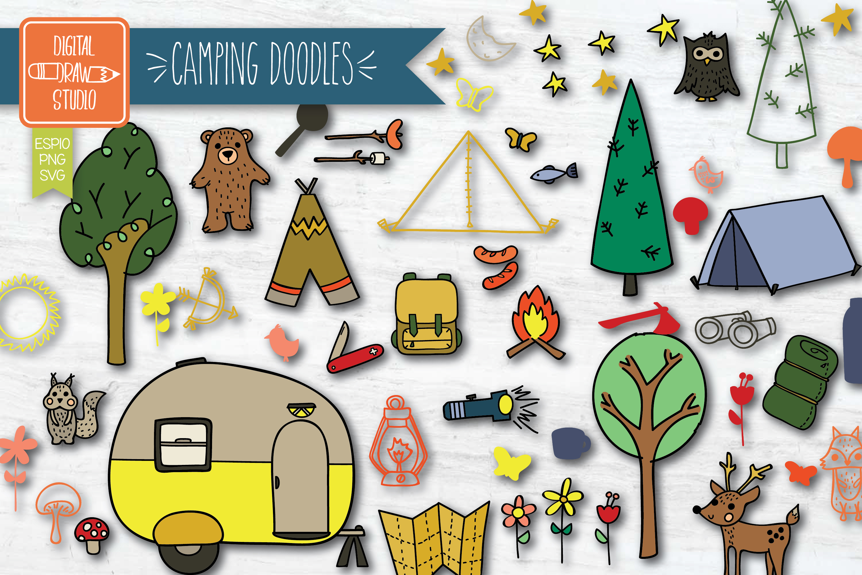 Download Free Hand Drawn Camping Colored Outdoor Graphic By Carmela Giordano for Cricut Explore, Silhouette and other cutting machines.