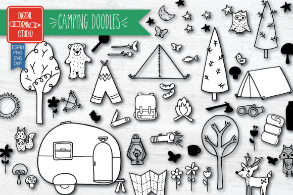 Hand Drawn Camping  | Outdoor Woodland Graphic Illustrations By Digital_Draw_Studio