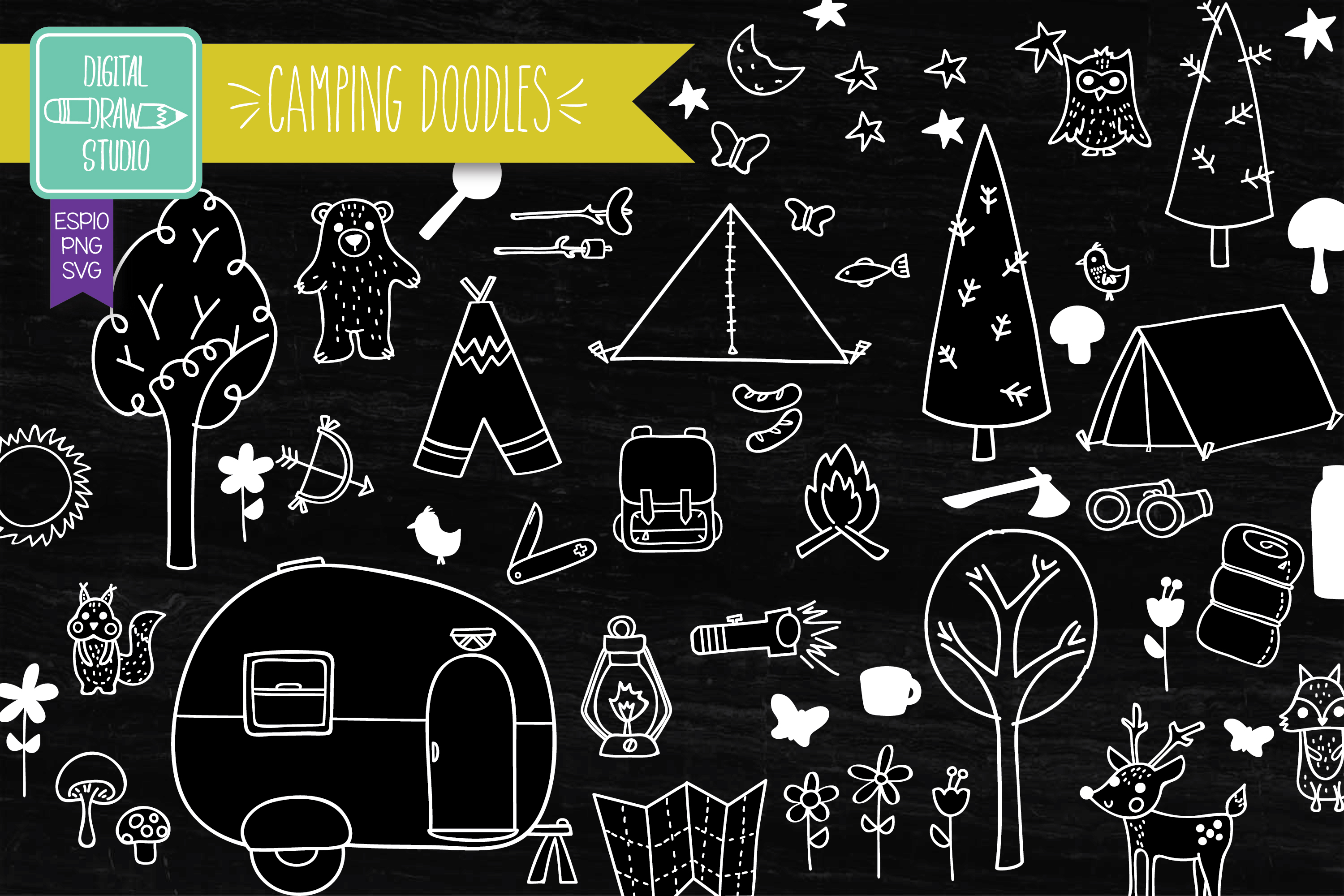 Download Free Hand Drawn Camping White Outdoor Graphic By Carmela Giordano for Cricut Explore, Silhouette and other cutting machines.
