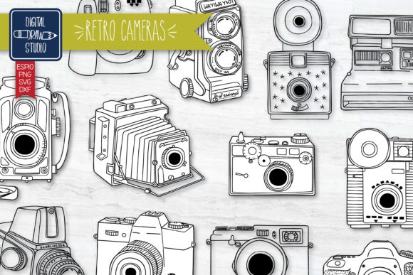 Hand Drawn Vintage Cameras | Video Graphic Illustrations By Digital_Draw_Studio