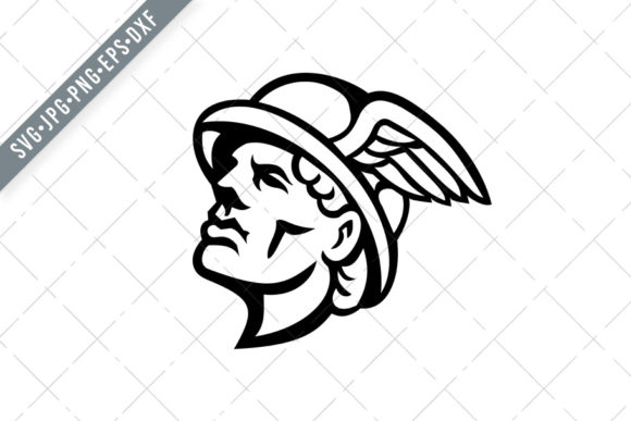 Download Free Head Of Hermes Greek God Mascot Graphic By Patrimonio Creative for Cricut Explore, Silhouette and other cutting machines.