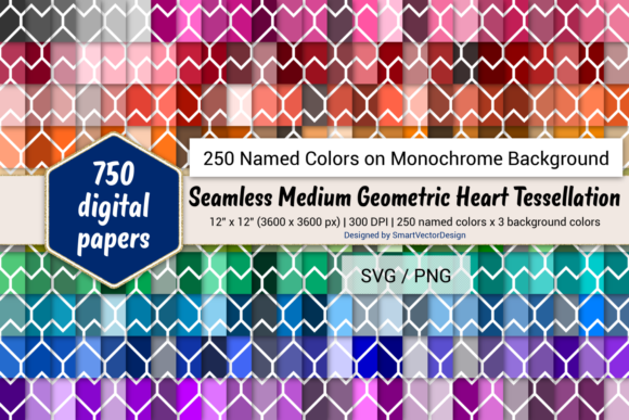 Download Free Heart Tessellation Digital Paper 250 Colors Graphic By for Cricut Explore, Silhouette and other cutting machines.