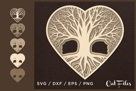 Heart Tree Cut File Grafik 3D SVG von 2dooart