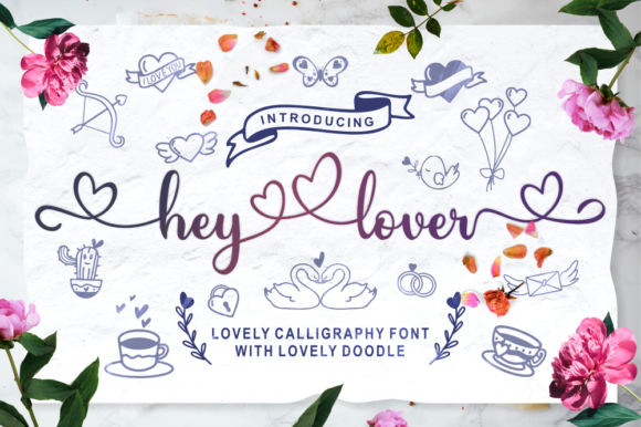 Download Free Hey Lover Font By Nun Creatype Creative Fabrica for Cricut Explore, Silhouette and other cutting machines.