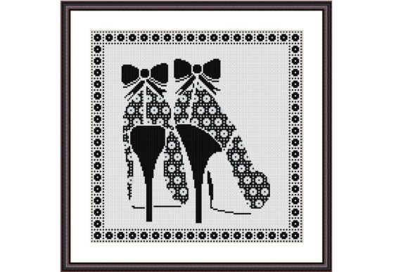 High Heels Geometric Ornament Design Graphic Cross Stitch Patterns By e6702