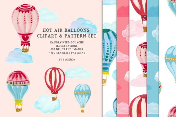 Print on Demand: Hot Air Balloons - Clipart & Pattern Set Graphic Patterns By swiejko