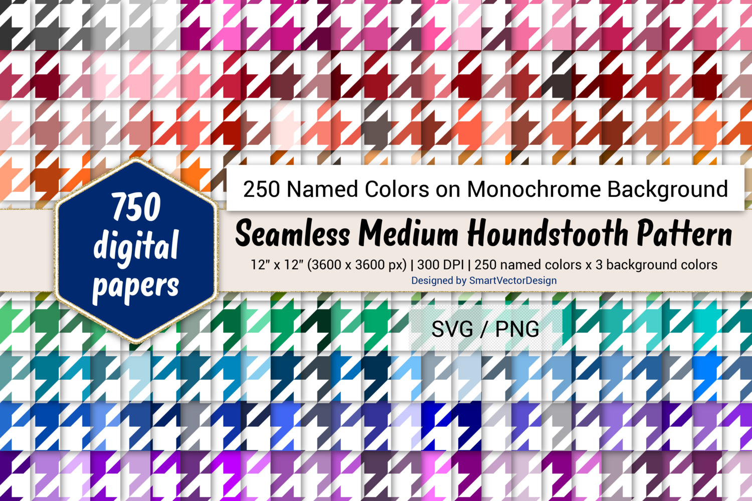 Download Free Houndstooth Digital Paper 250 Colors Graphic By for Cricut Explore, Silhouette and other cutting machines.