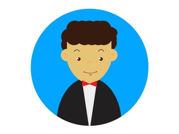 Download Free Icon Character Men Wear Suits Curly Hair Graphic By for Cricut Explore, Silhouette and other cutting machines.