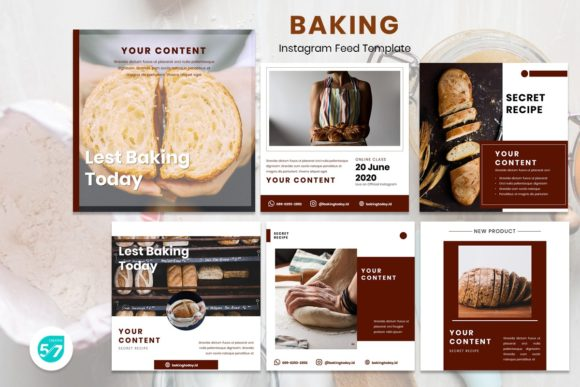 Download Free Instagram Feed Template Baking Graphic By Maju57creative for Cricut Explore, Silhouette and other cutting machines.