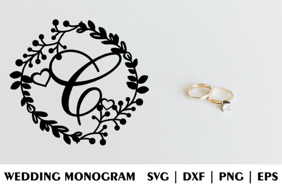 Download Free Letter C Of Wedding Decorative Monogram Graphic By Julimur2020 for Cricut Explore, Silhouette and other cutting machines.