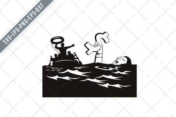 Download Free Man Drowning With Debt Dollar Graphic By Patrimonio Creative for Cricut Explore, Silhouette and other cutting machines.