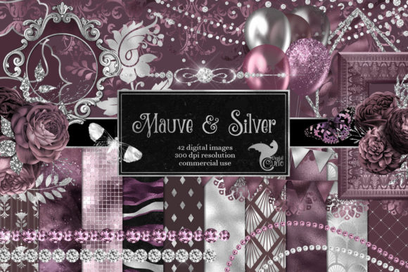 Print on Demand: Mauve and Silver Digital Scrapbook Kit Graphic Illustrations By Digital Curio