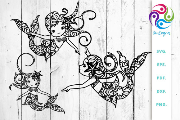 Download Free Mermaids Out Of Mandala Graphic By Sintegra Creative Fabrica for Cricut Explore, Silhouette and other cutting machines.