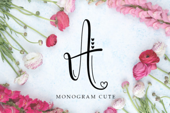 Print on Demand: Monogram Cute Manuscrita Fuente Por Niki Studio